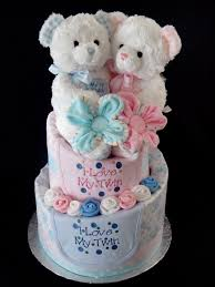 it u0027s twins twin diaper cake baby shower gift pink and blue