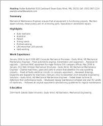 Maintenance Resume Examples by Download Mechanical Maintenance Engineer Sample Resume