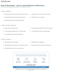 quiz u0026 worksheet lab for light reflection u0026 refraction study com