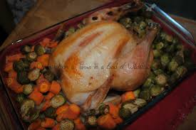 roast chicken with brussels sprouts once upon a time in a bed of
