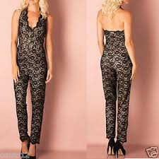 s one jumpsuit lipsy lace halterneck playsuit all in one jumpsuit