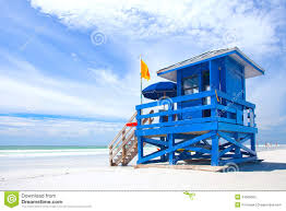 siesta key beach florida usa blue colorful lifeguard house stock