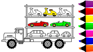 learn colors for children with car carrier truck coloring pages