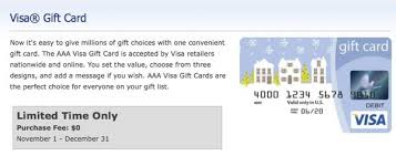 no fee gift cards limited time no fees on visa gift cards at aaa million mile
