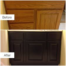 before u0026 after staining ugly golden oak cabinets remodeling