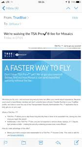 jetblue giving out free tsa precheck for those with mosaic status