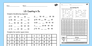 counting in 5s worksheet counting worksheet 4 numbers math