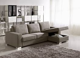 small space sectional sofa in gray with chaise and hidden storage