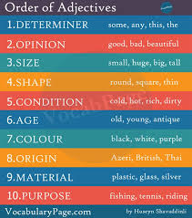 the 25 best order of adjectives ideas on pinterest subject verb