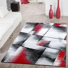 Wohnzimmer Schwarz Grau Rot Designer Teppich Wohnzimmer Modern Kurzflorteppich Real