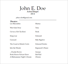 examples of actors resumes acting resume templates resume