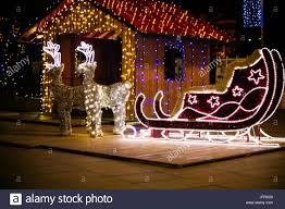 decoration reindeer and sleigh lights stock