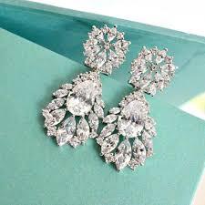bridal drop earrings marquise cubic zirconia teardrop bridal