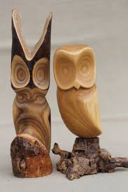 owl wood carving of owls vintage rustic modern abstract wood carvings sculpture