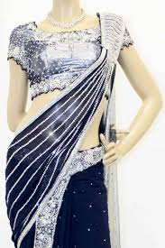 buy navy blue and silver designer butterfly saree