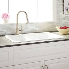 Kitchen Sinks With Backsplash Sinks White Double Bowl Cast Iron Drop In Kitchen Sink White