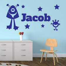 Vinyl Wall Stickers Custom Custom Made Any Name Aliens Stars Space Personalised Wall Sticker