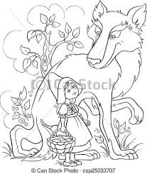 vector clipart red riding hood wolf colouring