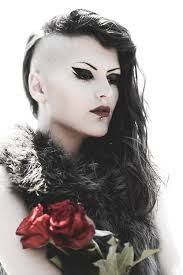 very beautiful headshave girls love the head shave on this goth girls hair style hair www