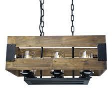 laluz wood chandeliers rustic pendant lighting 6 light kitchen