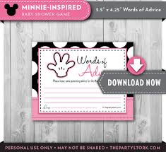 minnie baby shower games advice cards printable minnie mouse