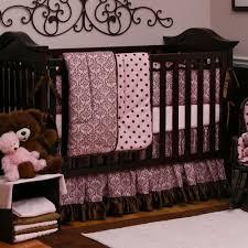 Pink And Brown Damask Crib Bedding Pink Crib Bedding Carousel Designs Carousel And Damasks