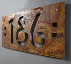 Mission Style House Custom Mission Style House Numbers In Rusted Steel