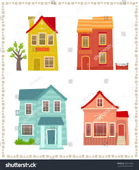 two story houses cartoon set four stock vector 287519603