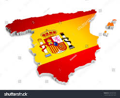 Spain On A Map 3d Map Spain On Simple Background Stock Illustration 228107206