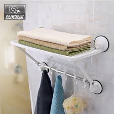 Suction Shelf Bathroom Adjustable 2 Layers Suction Cup Bathroom Towel Shelf Rack With 6