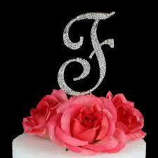 letter cake topper letter f cake topper monogram 5 inch silver rhinestone