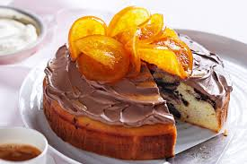 chocolate swirl cake with glazed oranges