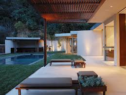 outdoor landscape ideas patio modern with louvered ceiling gray