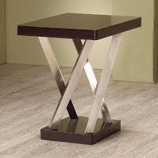 coaster company satin nickel coffee table coaster furniture 701927 end table espresso satin nickel