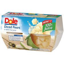 dole fruit bowls fruit bowls pears in 100 juice 4 oz 4 pk plastic cups