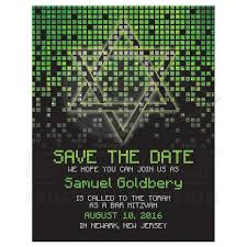 digital save the date bar mitzvah save the date card gamer lime green black pixel
