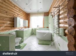bathroom rustic cabin mountains beautiful stock photo
