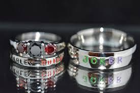 harley quinn wedding dress harley and joker rings black cz and garnet cz complete 3