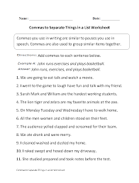 Fourth Grade Language Arts Worksheets Commas Separate Things In List Worksheet Projects To Try