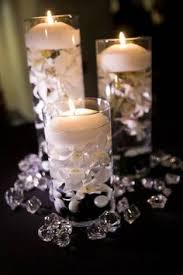 Floating Candle Centerpieces by Pearls On Bottom Floating Candle On Top Glitter Decor At Water