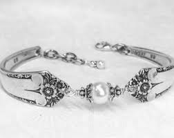 Silver Spoon Jewelry Making - silver spoon bracelet with white crystal pearls silverware