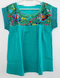turquoise blouse embroidered turquoise blouse made in oaxaca