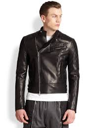 mens leather riding jacket dsquared quilted leather motorcycle jacket in black for men lyst