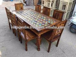 sheesham wood solid square table with brass fitted brass and tile fitted strong solid wood dining table with 8 chairs
