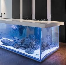 designer aquarium kitchen with beautiful large aquarium for a base
