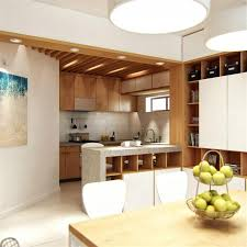interior classy white kitchen design with floating wood breakfast