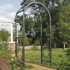 Metal Arbor With Gate Solid Steel Garden Arch Metal Arbor Frame Gray Outdoor Decor Iron