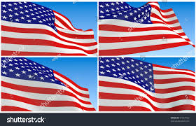 Reverse Color American Flag Collage Flying Usa Flag Blue Sky Stock Illustration 47667733