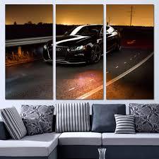 aliexpress com buy 3 panels canvas art black luxury car race