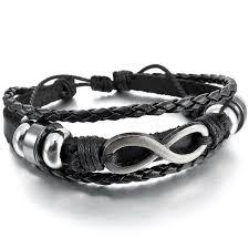 inblue womens alloy genuine leather bracelet bangle cuff silver